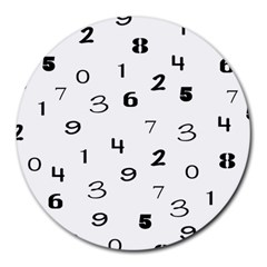 Number Black Round Mousepads