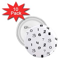 Number Black 1.75  Buttons (10 pack)