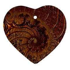 Copper Caramel Swirls Abstract Art Ornament (Heart)