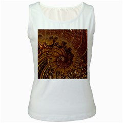 Copper Caramel Swirls Abstract Art Women s White Tank Top