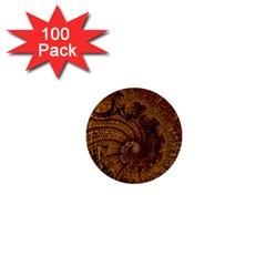 Copper Caramel Swirls Abstract Art 1  Mini Buttons (100 pack)