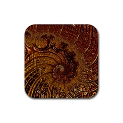 Copper Caramel Swirls Abstract Art Rubber Square Coaster (4 Pack)