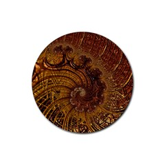 Copper Caramel Swirls Abstract Art Rubber Round Coaster (4 Pack)