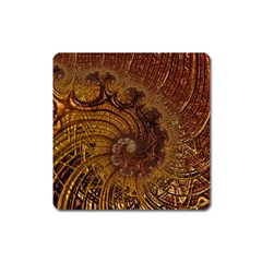 Copper Caramel Swirls Abstract Art Square Magnet