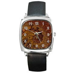Copper Caramel Swirls Abstract Art Square Metal Watch