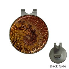 Copper Caramel Swirls Abstract Art Hat Clips With Golf Markers