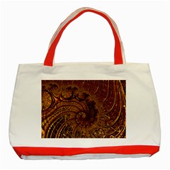 Copper Caramel Swirls Abstract Art Classic Tote Bag (red)
