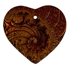 Copper Caramel Swirls Abstract Art Heart Ornament (two Sides)
