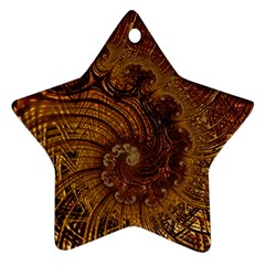 Copper Caramel Swirls Abstract Art Star Ornament (Two Sides)