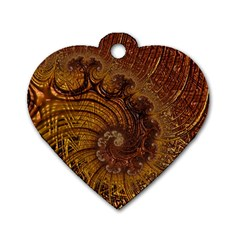 Copper Caramel Swirls Abstract Art Dog Tag Heart (two Sides)