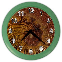 Copper Caramel Swirls Abstract Art Color Wall Clocks