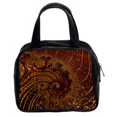 Copper Caramel Swirls Abstract Art Classic Handbags (2 Sides)