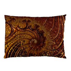 Copper Caramel Swirls Abstract Art Pillow Case