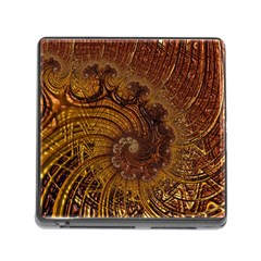 Copper Caramel Swirls Abstract Art Memory Card Reader (square)