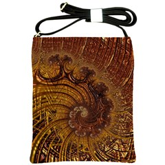 Copper Caramel Swirls Abstract Art Shoulder Sling Bags