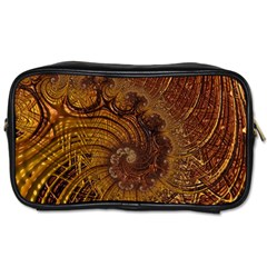 Copper Caramel Swirls Abstract Art Toiletries Bags 2 Side