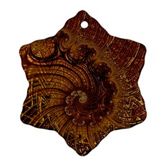 Copper Caramel Swirls Abstract Art Snowflake Ornament (two Sides)
