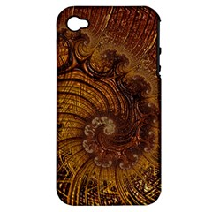Copper Caramel Swirls Abstract Art Apple Iphone 4/4s Hardshell Case (pc+silicone)