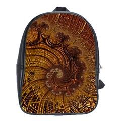Copper Caramel Swirls Abstract Art School Bags (xl)