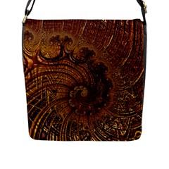 Copper Caramel Swirls Abstract Art Flap Messenger Bag (l)