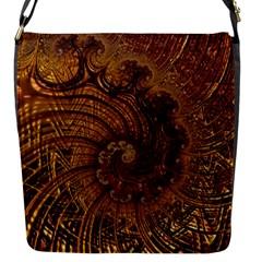Copper Caramel Swirls Abstract Art Flap Messenger Bag (s)