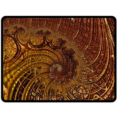 Copper Caramel Swirls Abstract Art Double Sided Fleece Blanket (large)