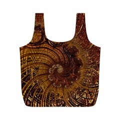Copper Caramel Swirls Abstract Art Full Print Recycle Bags (m)