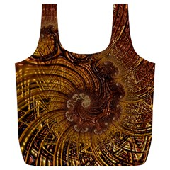 Copper Caramel Swirls Abstract Art Full Print Recycle Bags (l)