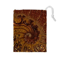 Copper Caramel Swirls Abstract Art Drawstring Pouches (large)