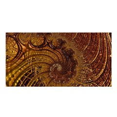 Copper Caramel Swirls Abstract Art Satin Shawl
