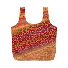Line Dancing Gold Purple Full Print Recycle Bags (M)