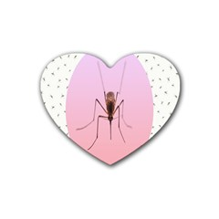 Mosquito Pink Insect Blood Rubber Coaster (heart)