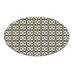 Flower Floral Chevrpn Wave Sunflower Rose Grey Yellow Oval Magnet