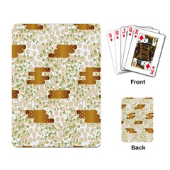 Flower Floral Leaf Rose Pink White Green Gold Playing Card