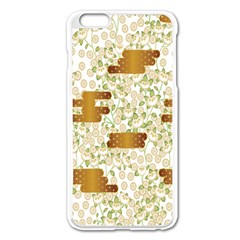Flower Floral Leaf Rose Pink White Green Gold Apple iPhone 6 Plus/6S Plus Enamel White Case
