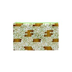 Flower Floral Leaf Rose Pink White Green Gold Cosmetic Bag (xs)