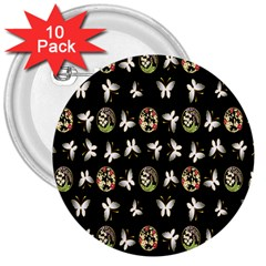 Butterfly Floral Flower Green White 3  Buttons (10 Pack)