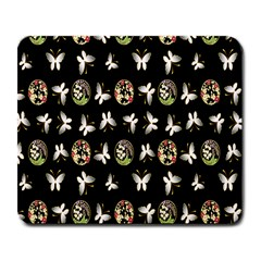 Butterfly Floral Flower Green White Large Mousepads
