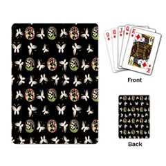 Butterfly Floral Flower Green White Playing Card