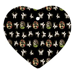 Butterfly Floral Flower Green White Heart Ornament (Two Sides)