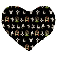 Butterfly Floral Flower Green White Large 19  Premium Heart Shape Cushions
