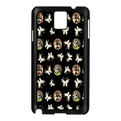 Butterfly Floral Flower Green White Samsung Galaxy Note 3 N9005 Case (Black)