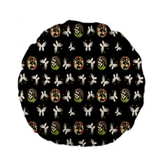 Butterfly Floral Flower Green White Standard 15  Premium Flano Round Cushions