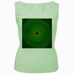 Green Fractal Simple Wire String Women s Green Tank Top