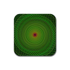 Green Fractal Simple Wire String Rubber Square Coaster (4 pack)