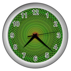 Green Fractal Simple Wire String Wall Clocks (silver)