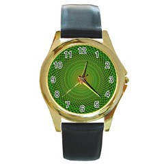 Green Fractal Simple Wire String Round Gold Metal Watch