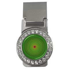 Green Fractal Simple Wire String Money Clips (CZ)