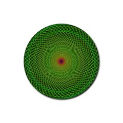 Green Fractal Simple Wire String Rubber Coaster (round)