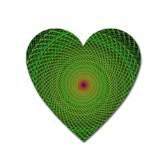 Green Fractal Simple Wire String Heart Magnet